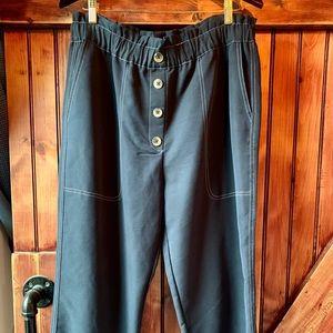 Zara Navy Pants w White Contrast Stitching. XL